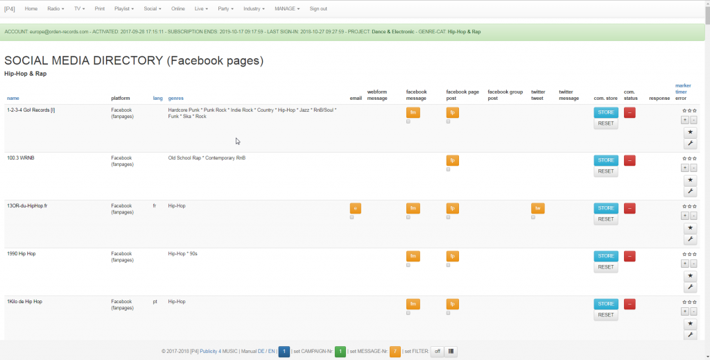 Musik Promotion Tool - Adressen und Kontakte - Facebook Music Pages - Hip Hop & Rap - Top