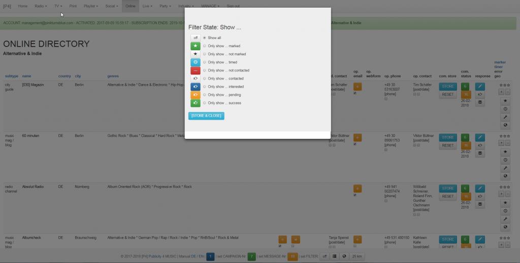 Musik Promotion Tool - Adressen und Kontakte - Filter