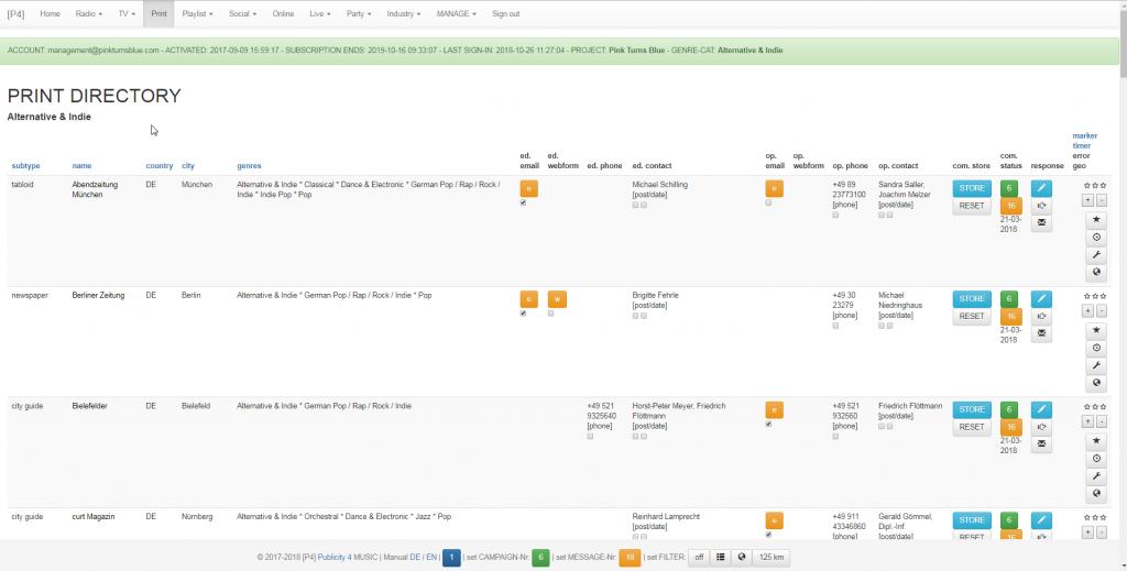 Musik Promotion Tool - Adressen und Kontakte - Print - Alternative & Indie - Top